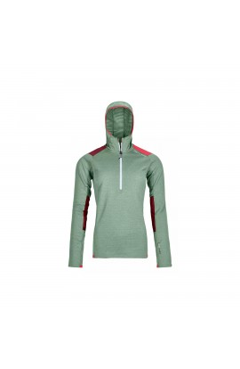 ORTOVOX FLEECE LIGHT GRID ZIP HOODY WOMENS - GREEN ISAR