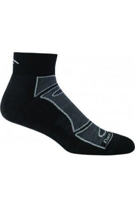 DARN TOUGH MENS 1/4 SOCK LIGHT CUSHION - BLACK/GREY (1723)