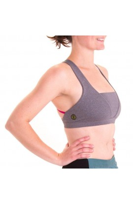 3RD ROCK AURORA 3 BRA TOP - GREY MARL MAGENTA