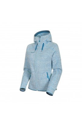 MAMMUT ARCTIC HOODED JACKET WOMEN - BRIGHT WHITE/SAPPHIRE MELANGE