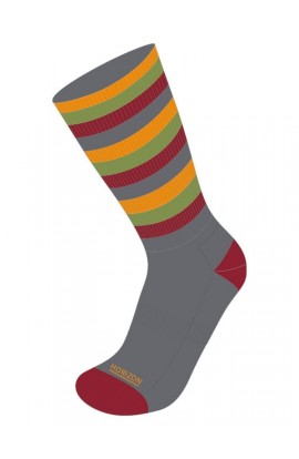 HORIZON LEISURE LIFESTYLE SOCK MENS BAMBOO - GREY/BURGUNDY