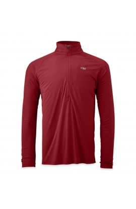OUTDOOR RESEARCH ECHO LONGSLEEVE ZIP TEE - REDWOOD/HOT SAUCE