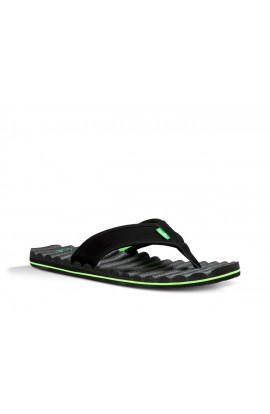 SANUK BEER COZY HOP TOP FLIP FLOP - BLACK/LIME