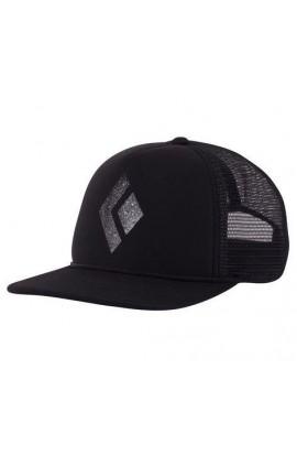 BLACK DIAMOND FLAT BILL TRUCKER HAT - BLACK/WHITE