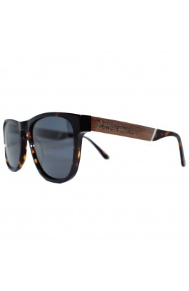 DEWERSTONE BANTHAM  WOOD & ACETATE POLARIZED SUNGLASSES - BROWN MARBLE