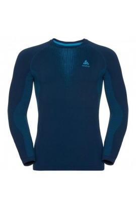 ODLO SUW CREW NECK L/S WARM MENS - BLUE JEWEL