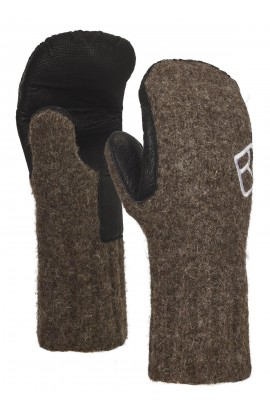 ORTOVOX SWISSWOOL CLASSIC MITTEN LEATHER - BLACK SHEEP