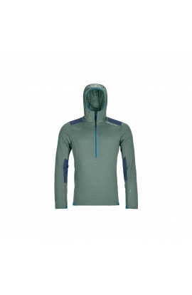 ORTOVOX FLEECE LIGHT GRID ZIP HOODY MENS - GREEN FOREST